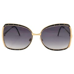 New Vintage Gucci Oversized Black & Gold Sunglasses 1990's Made in Italy
