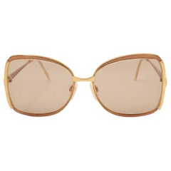 New Vintage Gucci Oversized Gold & Ochre Sunglasses 1990's Made in Italy