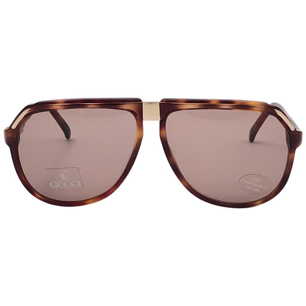 New Vintage Gucci Tortoise Aviator Sunglasses 1990's Made in Italy