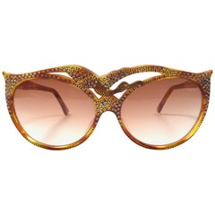 New Vintage IDC 105 Bird Rhinestones Accented Sunglasses France 1990's