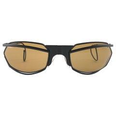 New Vintage IDC G1 Marithe Francois Girbaud Folding Black mate Sunglasses France