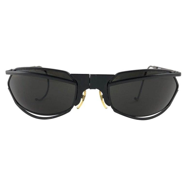 New Vintage IDC G1 Marithe Francois Girbaud Folding Black mate Sunglasses France For Sale