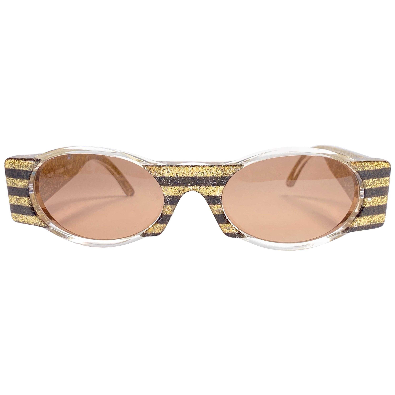 New Vintage IDC Lunettes 619 Black & Gold Glitter Mask 1980's Sunglasses France