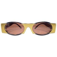 New Vintage IDC Lunettes 619 Black & Gold Mask 1980's Sunglasses France