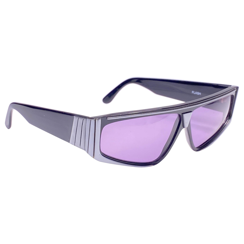 "New Vintage IDC Lunettes ""  Flash ""  Black & Grey Mask 1980's Sunglasses France"