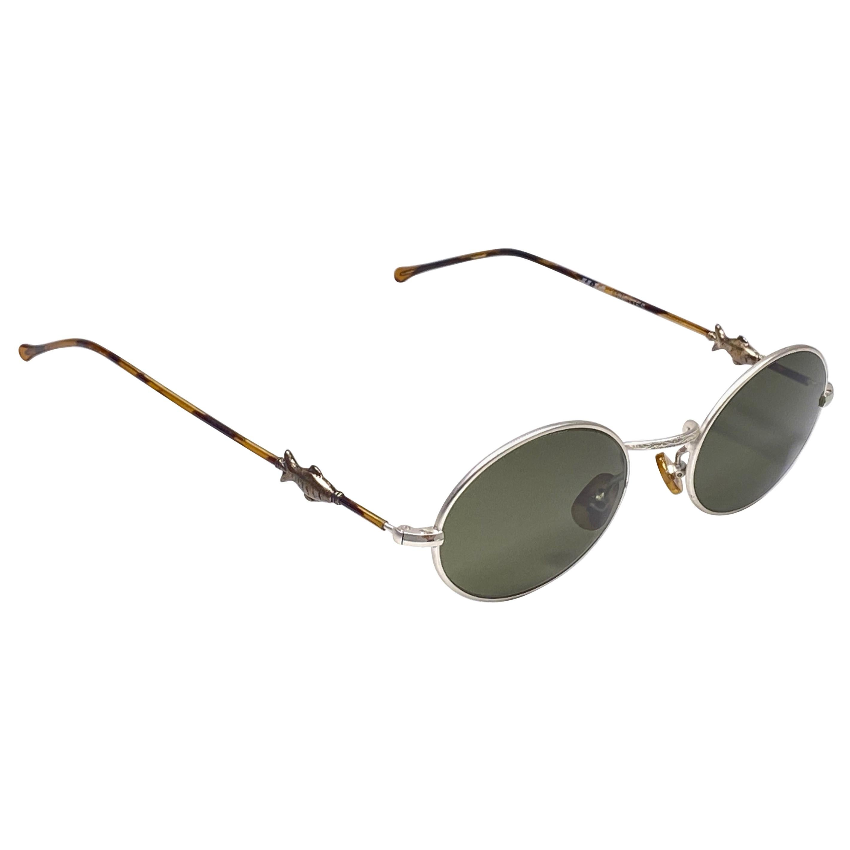 """New Vintage IDC Lunettes Silver """" Fish """"  1980's Sunglasses France"""