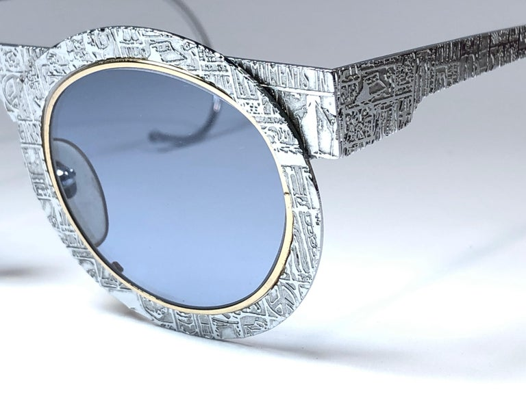 Purple New Vintage IDC Pour Marithe Francois Girbaud Round Silver Sunglasses France For Sale
