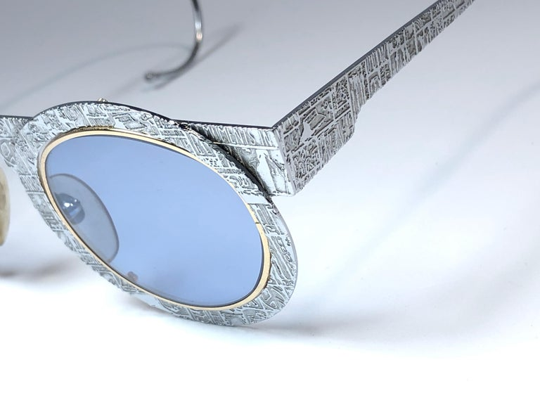 New Vintage IDC Pour Marithe Francois Girbaud Round Silver Sunglasses France In New Condition For Sale In Amsterdam, Noord Holland