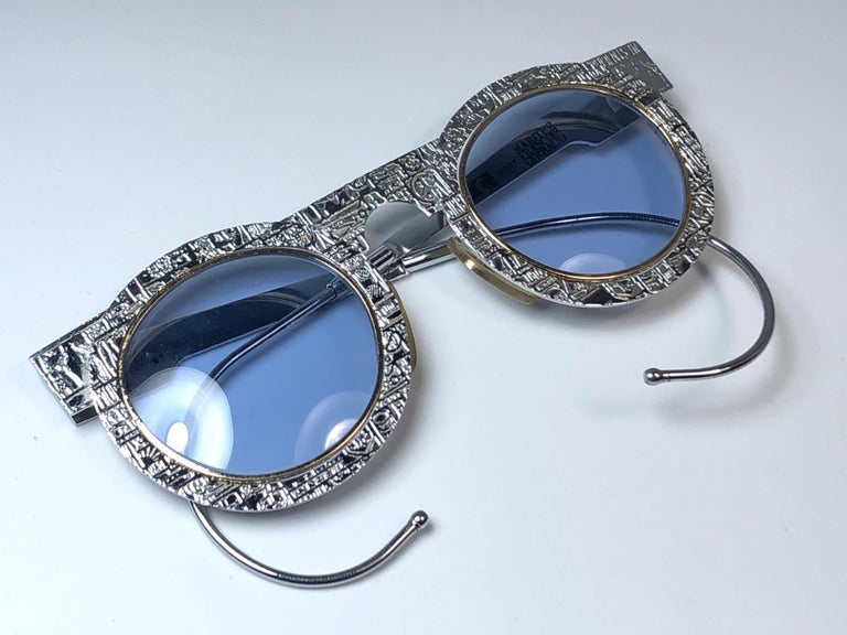 New Vintage IDC Pour Marithe Francois Girbaud Round Silver Sunglasses France For Sale 1