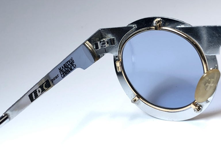 New Vintage IDC Pour Marithe Francois Girbaud Round Silver Sunglasses France For Sale 2