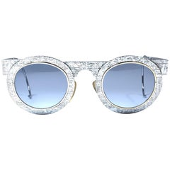 New Vintage IDC Pour Marithe Francois Girbaud Round Silver Sunglasses France