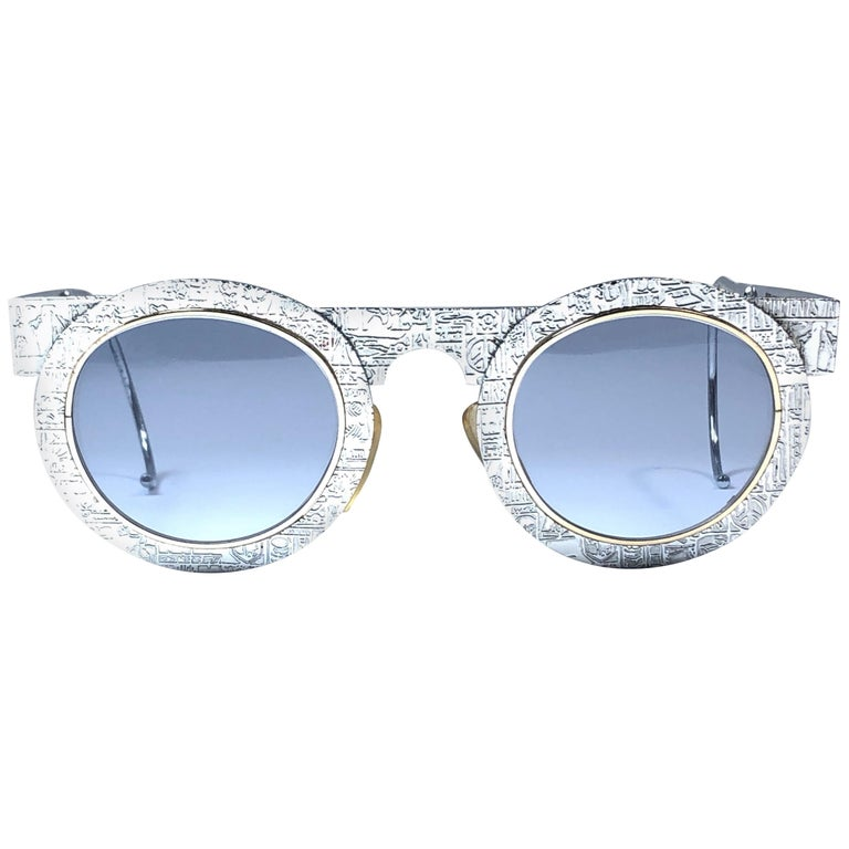 New Vintage IDC Pour Marithe Francois Girbaud Round Silver Sunglasses France For Sale
