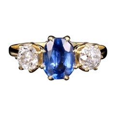 New Vintage Inspired 18K Yellow Gold Natural Sapphire and Old Mine Diamond Ring