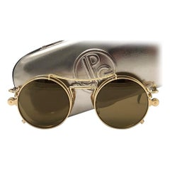 New Vintage Jean Paul Gaultier 56 9173 Gold Removable Clip Sunglasses 1990 Japan