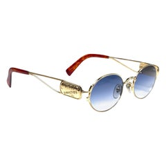 New Vintage Jean Paul Gaultier Junior 58 4175 Gold Oval Japan Sunglasses