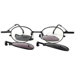 New Vintage Kansai HOYA Steampunk Silver Black Full Set  1980's Japan Sunglasses