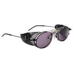 New Vintage Kansai Steampunk Silver Black Full Set  1980's Japan Sunglasses