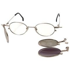 New Vintage Kansai Yamamoto HOYA Steampunk Silver Full Set 1980 Japan Sunglasses
