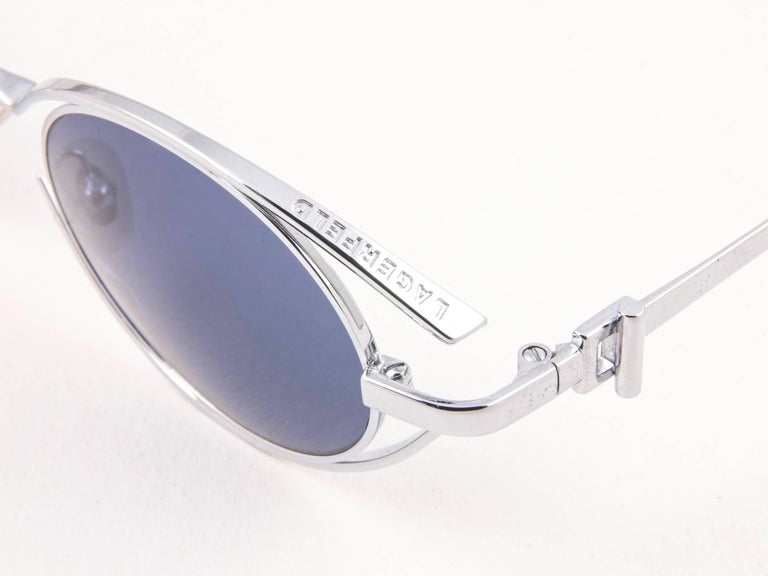 Purple New Vintage Karl Lagerfeld 4123 04 Oval Silver 1990 France Sunglasses For Sale