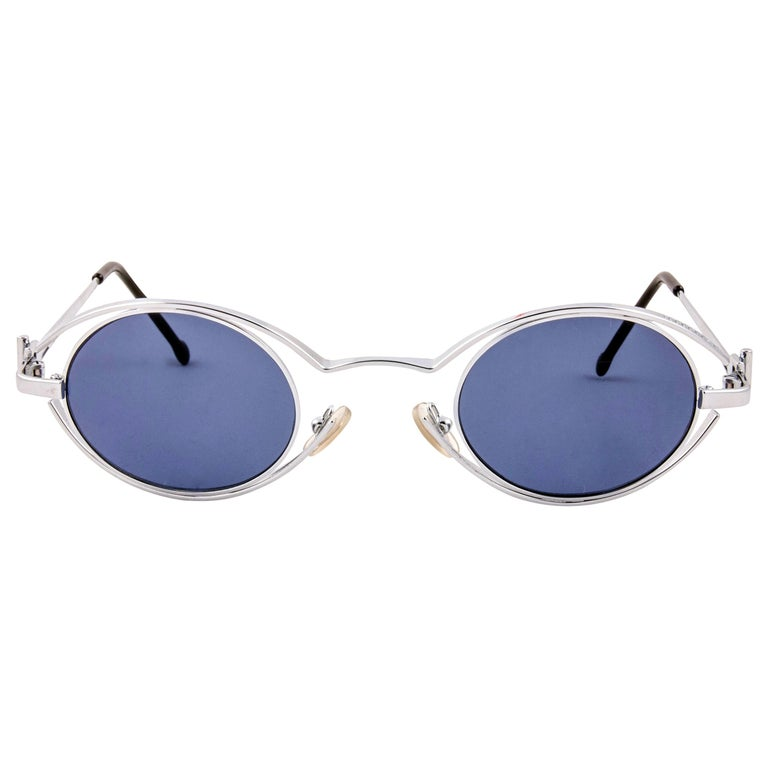 New Vintage Karl Lagerfeld 4123 04 Oval Silver 1990 France Sunglasses For Sale