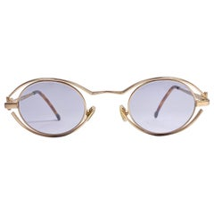 New Vintage Karl Lagerfeld 4123 Oval Matte Gold 1990 France Sunglasses