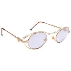 New Vintage Karl Lagerfeld 4123 Oval Matte Gold 1990 France Sunglasses
