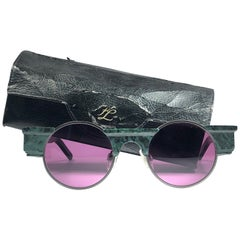 New Vintage Karl Lagerfeld L3802 Round Marble 80's Made In Germany Sunglasses