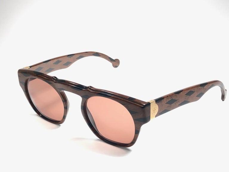 Gray New Vintage Karl Lagerfeld Marble Black & Brown 1980 Germany Sunglasses For Sale
