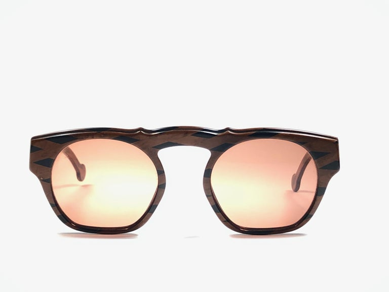 New Vintage Karl Lagerfeld Marble Black & Brown 1980 Germany Sunglasses In Excellent Condition For Sale In Amsterdam, Noord Holland