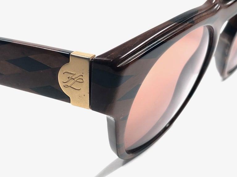 Women's New Vintage Karl Lagerfeld Marble Black & Brown 1980 Germany Sunglasses For Sale