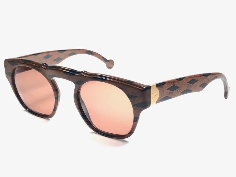 New Vintage Karl Lagerfeld Marble Black & Brown 1980 Germany Sunglasses For Sale 1