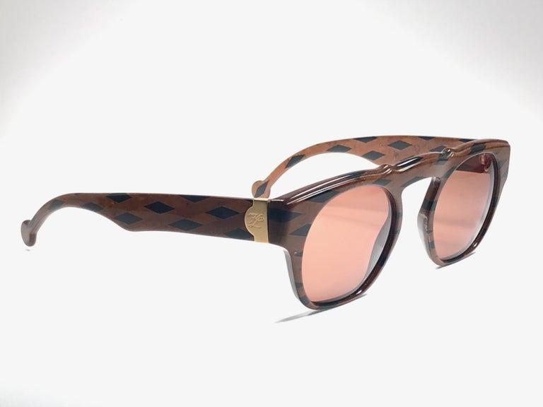 New Vintage Karl Lagerfeld Marble Black & Brown 1980 Germany Sunglasses For Sale 2
