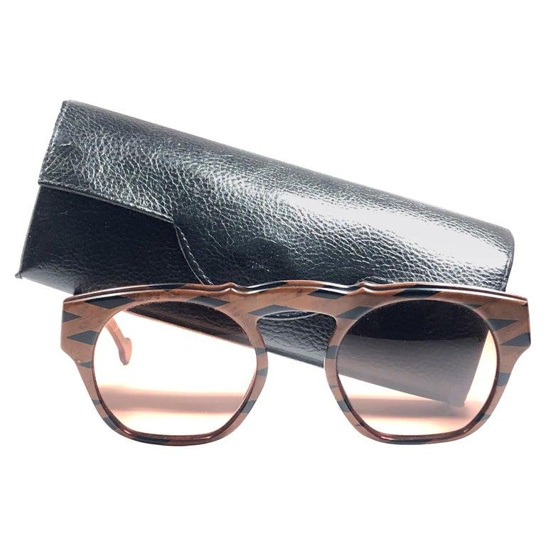 New Vintage Karl Lagerfeld Marble Black & Brown 1980 Germany Sunglasses For Sale