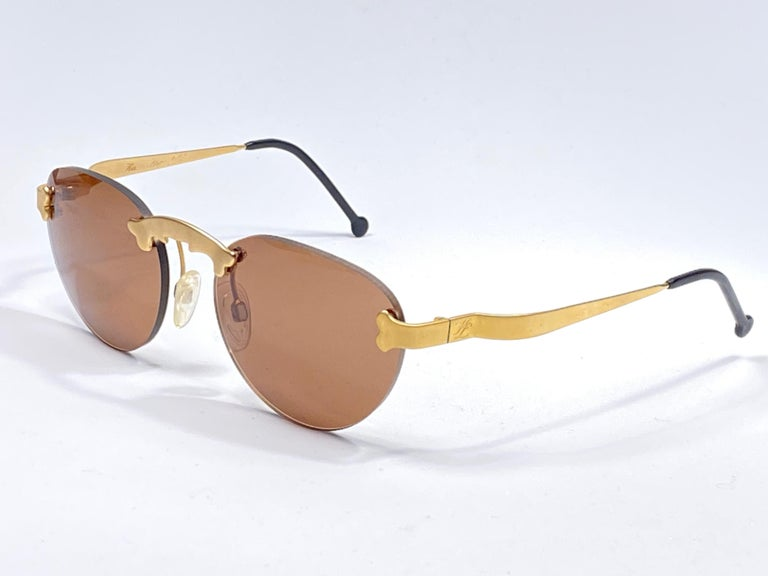 Brown New Vintage Karl Lagerfeld Rimless Gold Amber  80's Germany Sunglasses For Sale
