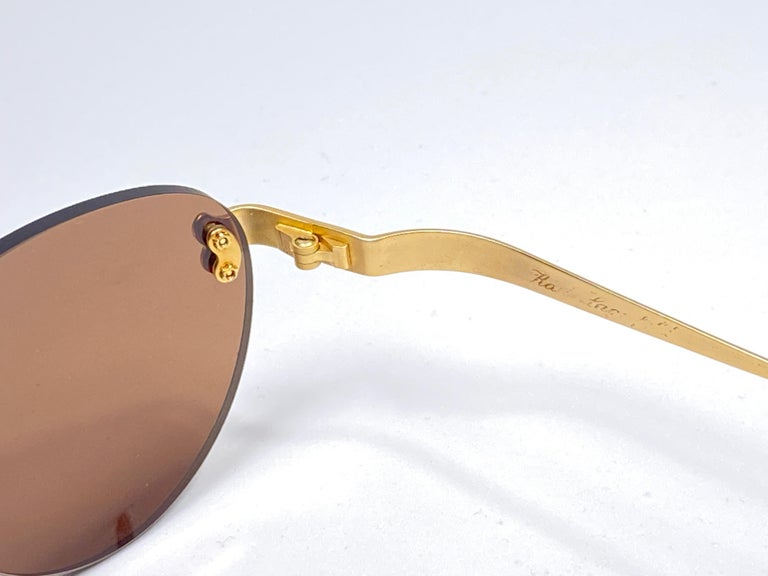 Women's New Vintage Karl Lagerfeld Rimless Gold Amber  80's Germany Sunglasses For Sale