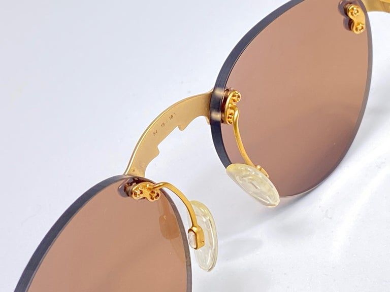 New Vintage Karl Lagerfeld Rimless Gold Amber  80's Germany Sunglasses For Sale 1