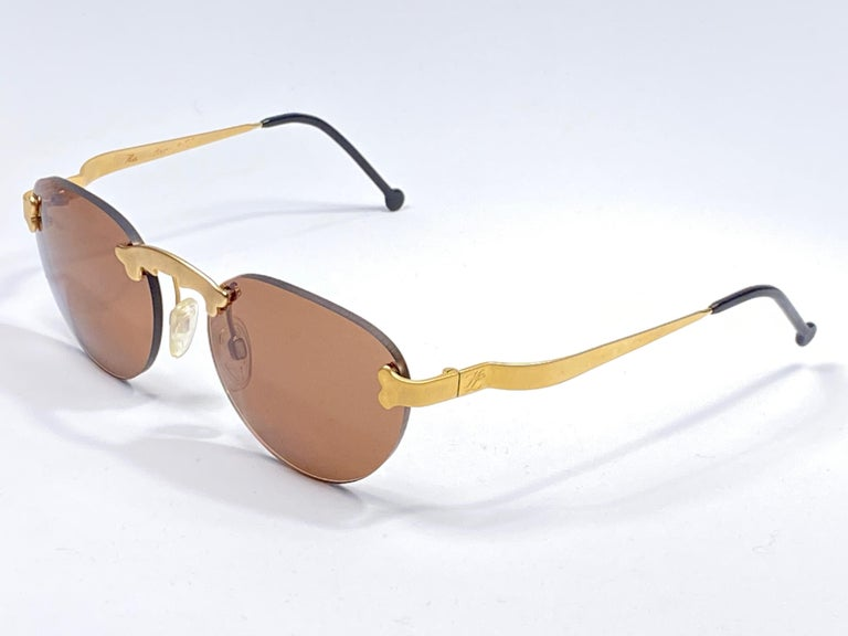 New Vintage Karl Lagerfeld Rimless Gold Amber  80's Germany Sunglasses For Sale 2