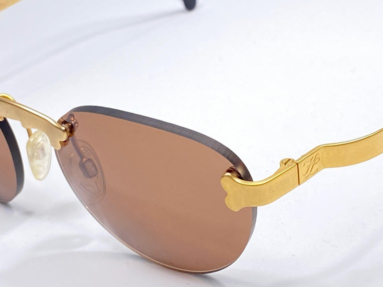 New Vintage Karl Lagerfeld Rimless Gold Amber  80's Germany Sunglasses For Sale 3