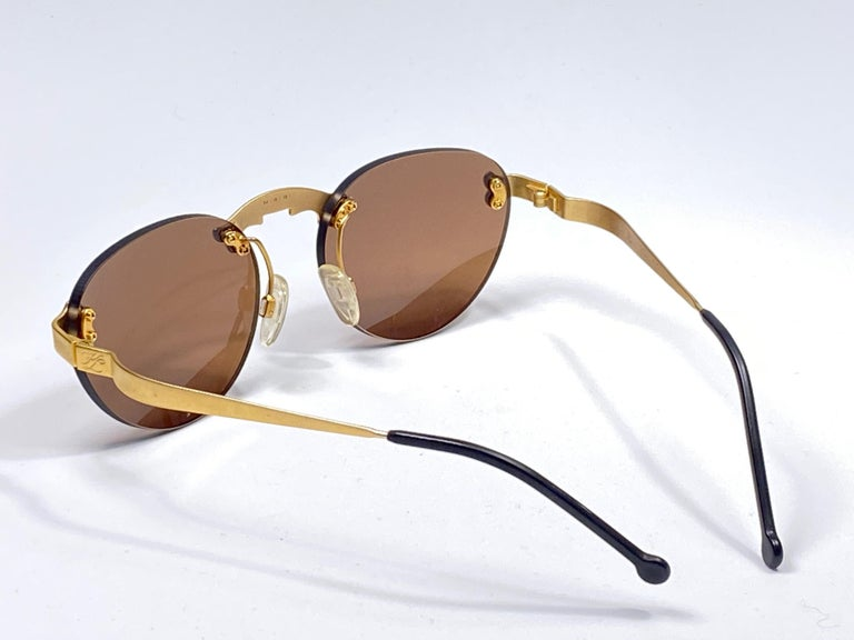 New Vintage Karl Lagerfeld Rimless Gold Amber  80's Germany Sunglasses For Sale 4