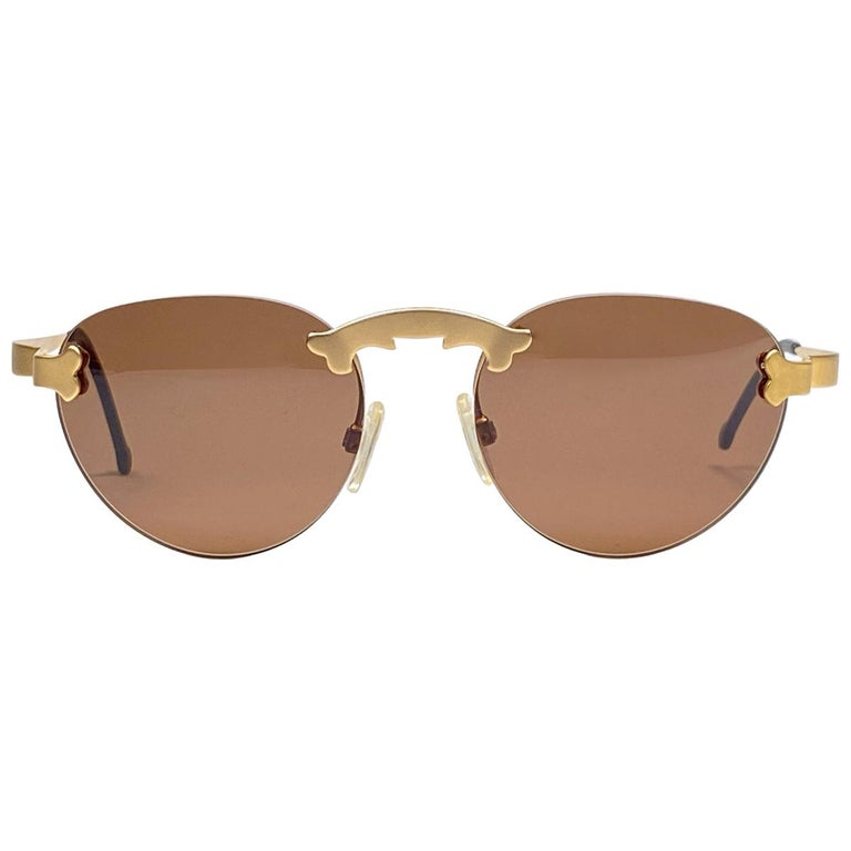 New Vintage Karl Lagerfeld Rimless Gold Amber  80's Germany Sunglasses For Sale