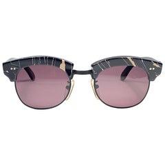 """New Vintage L.A EYEWORKS """" Gigantor """" Black & Light Rose Marbled Sunglasses 1990"""