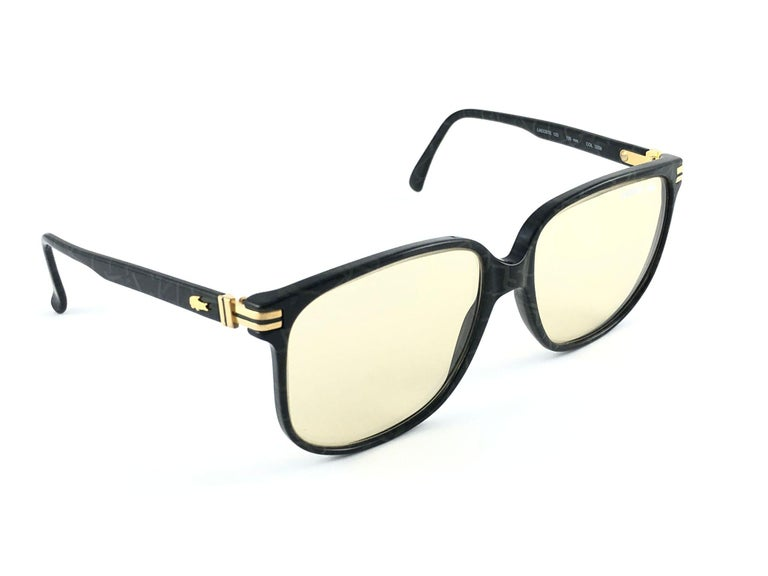 White New Vintage Lacoste 171 Oversized Frame Changeable Lenses 1970 Sunglasses For Sale