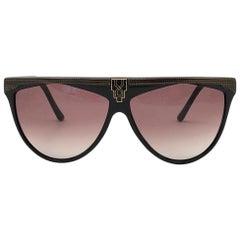 New Vintage Laura Biagiotti Oversized Black Mask P27 Art Deco Sunglasses Italy