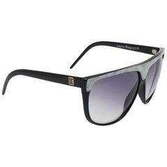 New Vintage Laura Biagiotti Oversized Sleek Black Mask 20187  Sunglasses Italy