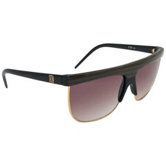 New Vintage Laura Biagiotti Oversized Sleek Brown & Gold Mask P30 Sunglasses