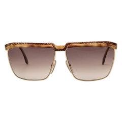 New Vintage Laura Biagiotti Oversized Tortoise & Gold Mask T87 1980's Sunglasses