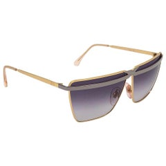 New Vintage Laura Biagiotti T60 Oversized Silver & Gold 1980 Sunglasses Italy