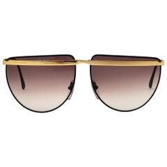 New Vintage Laura Biagiotti T61 Oversized Black Mask T59  1980 Sunglasses Italy