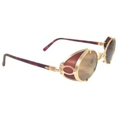 New Vintage Matsuda 10610 Matte Gold Side Cups 1990's Made in Japan Sunglasses