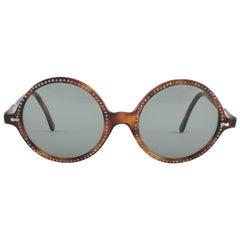 New Vintage May Round Tortoise & Rhinestones Medium 1970's Sunglasses